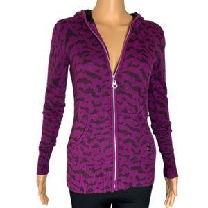 Fox Tiger Print Zip Up Pocket Front Hoodie Sweater